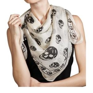 Alexander McQueen Silk Cream and Black Skull Scarf